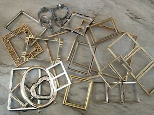 Huge Vintage Metal lot PICTURE FRAME Recycle Crafts Project Deco gold ornate geo