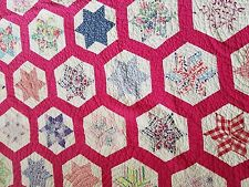 Vintage 1930s  Colorful multi color six point star Cotton Applique Quilt