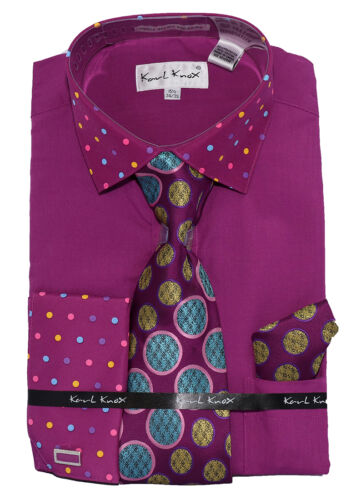 Mens Karl Knox Formal DOT Dress Shirt with Tie /& Hanky Cuff Links DOT-7 Luxury