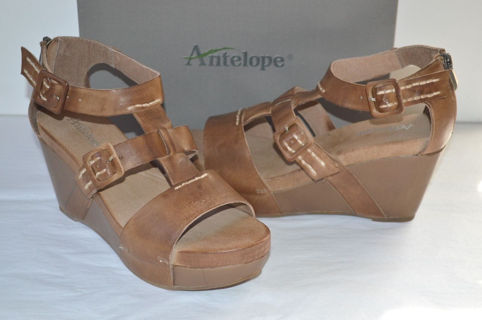 New  Antelope Style 961 Brown Leather Wedge Platform Sandal Vintage
