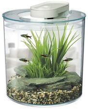 Fish Tank Aquarium 10 Litre 25.5 cm Diameter discreet inbuilt filter led lights