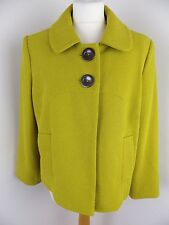 M&S lined jacket Size 16 petite chartreuse oversize buttons pockets 3/4 sleeves