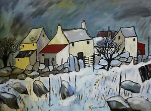 Original-Painting-Owen-Meilir-Snowdonia-Cottages-in-the-Snow-Welsh-art-Kyffin