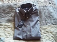 Stafford Dress Shirt. Gray/brownish With White Square Patterns. Small 14 1/2; 32