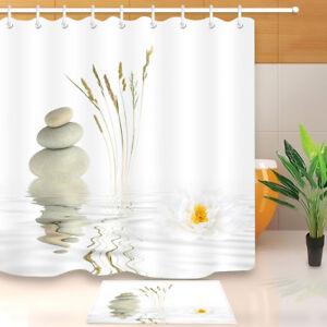 Image Is Loading Snowy Lotus Zen River Yoga Bathroom Waterproof Fabric