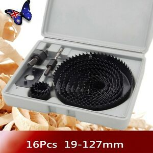 16PCS-HOLE-SAW-CUTTING-DRILL-BIT-SET-KIT-19-127MM-WOOD-METAL-ALLOYS-w-Box-TT