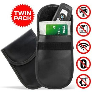 2-x-CAR-KEY-SIGNAL-BLOCKER-FOB-POUCH-CASE-KEYLESS-RFID-BLOCKING-BAG-FARADAY-CAGE
