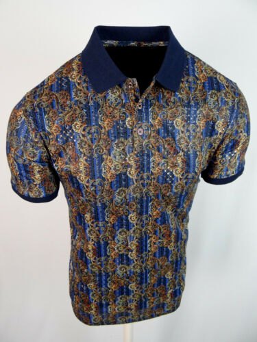 Mens Polo Shirt Navy Blue Floral Prints Gold Foil Overlay Slim Fit Stretch