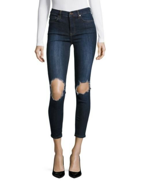 WOMENS FREE PEOPLE DESIGNER BUSTED DISTRESSED RIPPED blueE SKINNY DENIM JEANS
