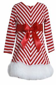 New bonnie jean striped holiday christmas santa red bow girls dress 2t