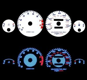 BLACK Indiglo Gauges Kit Glow Blue Reverse for 94-01 Integra RS//GS//LS AT ONLY