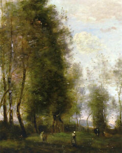 Art-Oil-painting-Corot-Landscape-A-Shady-Resting-Place-with-cows-canvas-36-034