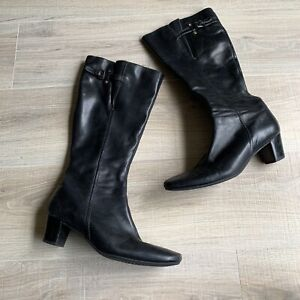 ECCO Womens Black Leather Boots Sz 40