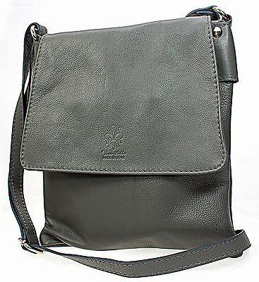 Echt Leder Tasche Handtasche Umhängetasche Schultertasche grau MC102936