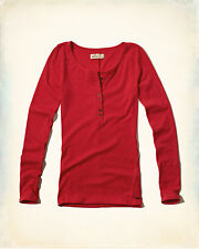 Nuevas damas Hollister, Abercrombie Fitch. Rojo De Manga Larga & Henley. Talla XS