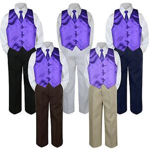 4pc Boy Suit Set Lilac Lavender Necktie Vest Baby Toddler Kid Formal Pants S-7