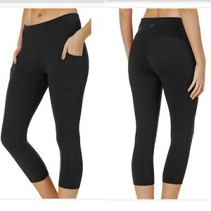 RBX-Womens-NWT-Capri-High-Waisted-Active-Leggings-Side-Leg-Pockets-Size-M-BLK