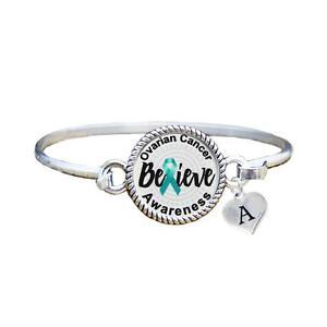 Custom Ovarian Cancer Awareness Believe Silver Bracelet Jewelry Choose Initial Ebay