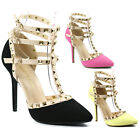 Stone Studded T-Strap Pointy Toe Stiletto Heel Pump Wild Diva Lounge Adora-55