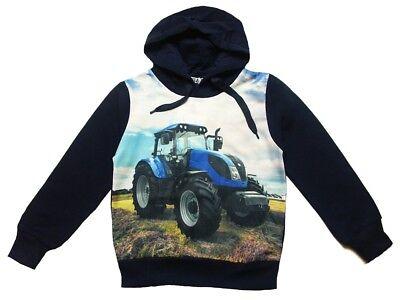 S/&C Kapuzenpullover Fotodruck Traktor blauer Trecker Hoody blau