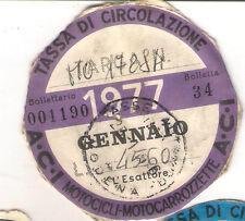 GENNAIO 1977 VECCHIO BOLLO ACI AUTO TASSA DI CIRCOLAZIONE MOTO MOTOCICLI VESPA