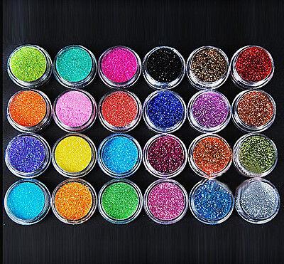 24 color Metal Shiny Glitter Nail Art Kit Acrylic Creative UV Powder Polish Tips