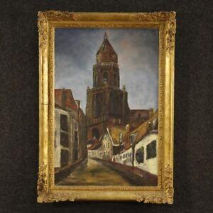 Dipinto-olio-su-tela-quadro-paesaggio-olandese-stile-antico-impressionista-900