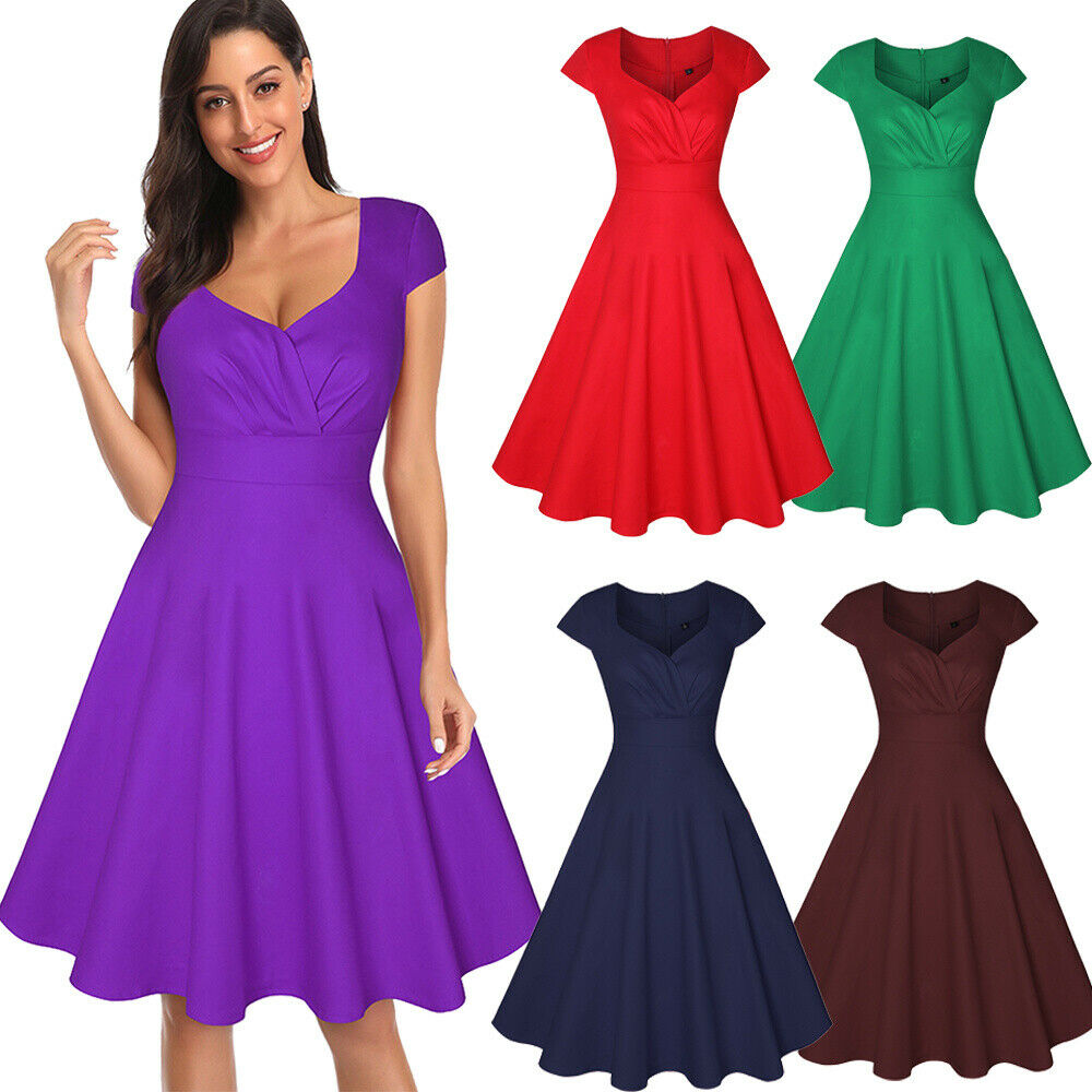 Elegant Women Cap Sleeve Pleated Swing A-line Casual Party Cocktail Retro Dress