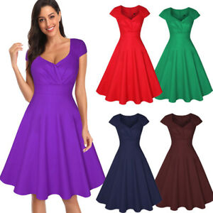 Elegant-Women-Cap-Sleeve-Pleated-Swing-A-line-Casual-Party-Cocktail-Retro-Dress