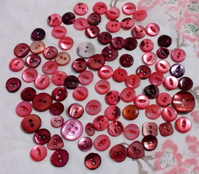 lot 92 ANCIENS BOUTONS NACRE ROSE VERITABLE de 9 mm à 18 mm VINTAGE B7