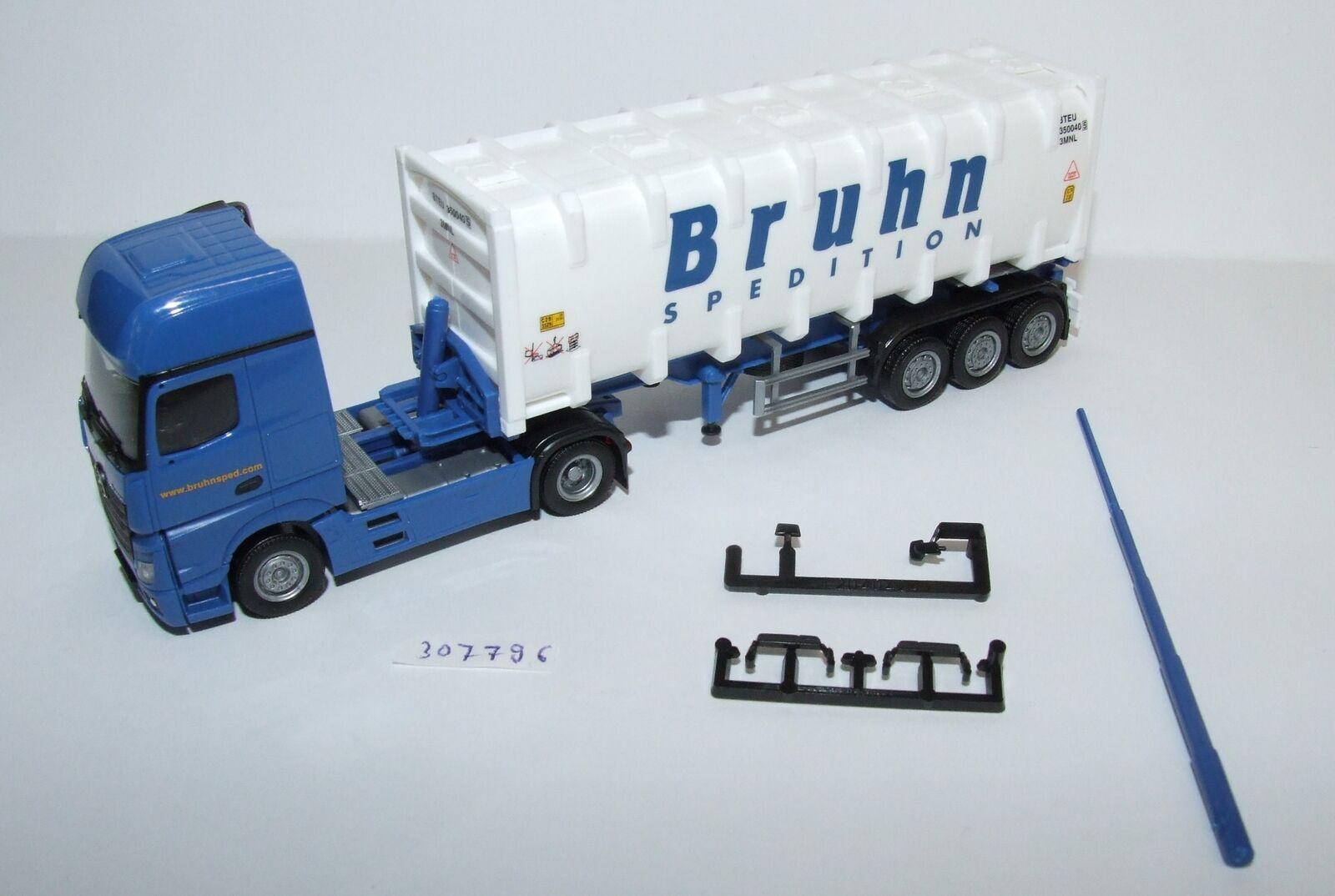 Herpa 307796 Mercedes-Benz Actros Giga bulkcontainer-Semi-remorque Bruhn 1 87