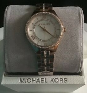 faae27ee35a4 New Ladies Michael Kors Watch Lauryn Rose Gold Crystal With Mother ...
