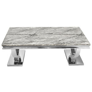Modern Stainless Steel Rectangle Coffee Table Tea Desk Grey Marble