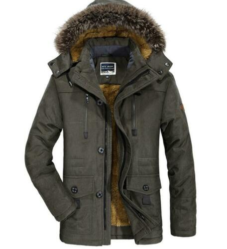 Mens Winter Fur Collar Warm Cotton Jacket Hooded Thick Quilted Coat Parka Plus