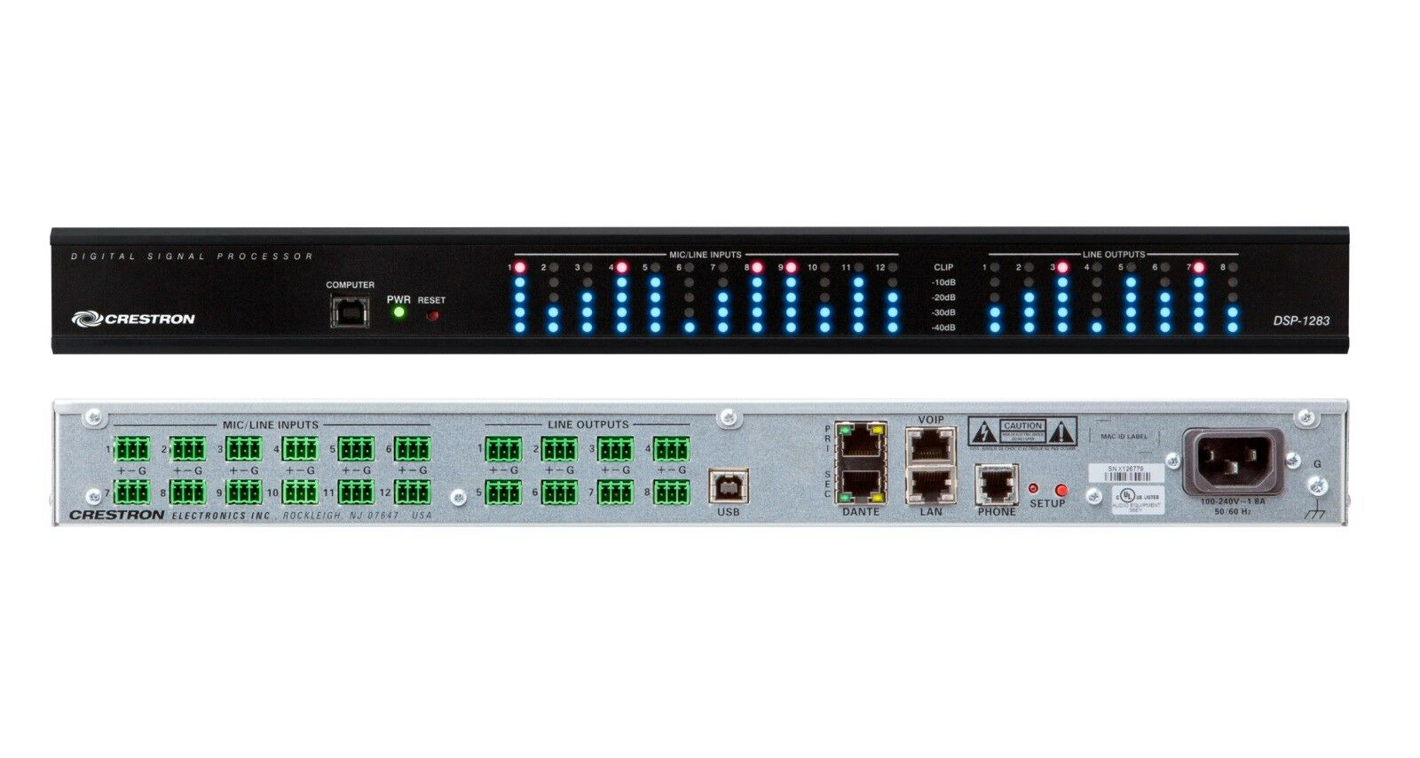Crestron DSP-1283 Avia 12x8 Digital Signal Processor Dante Audio Matrix AEC