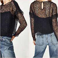 Zara Navy Lace Long Sleeve Crop Top Size 6 8 10 12 14 US XS S M L XL Blogger ❤