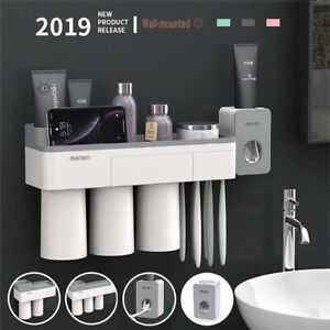 AM-TOOTHPASTE-TOOTHBRUSH-HOLDER-MAGNETIC-CUP-STORAGE-RACK-BATHROOM-WALL-MOUNT-S
