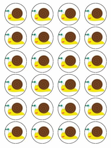X24 CARTOON SNAIL FACE CUP CAKE TOPPERS DECORATIONS ON EDIBLE RICE PAPER