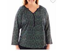 St. John's Bay® Raglan-sleeve Y-neck Top Shirt Womens Clothes Large Tall/ Lt
