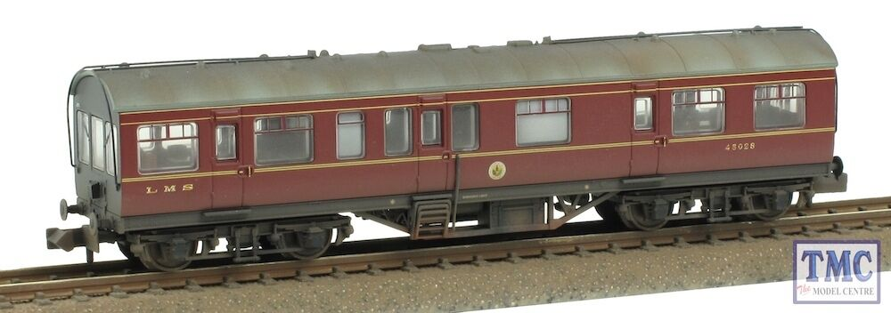 374-875 Farish N Gauge 50ft Inspection Saloon LMS Lined Crimson TMC Weathered