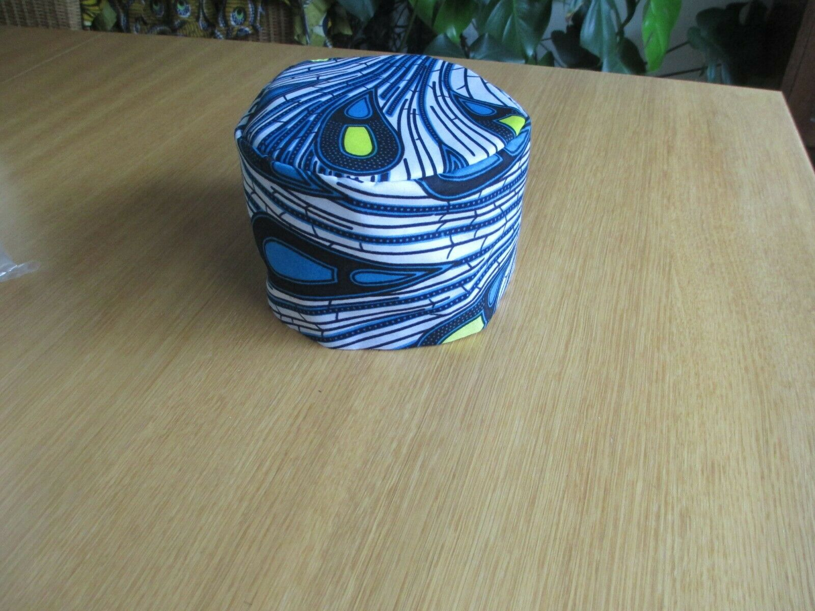 Unisex African Style Kufi Hat Blue Black White African Cotton Ethnic