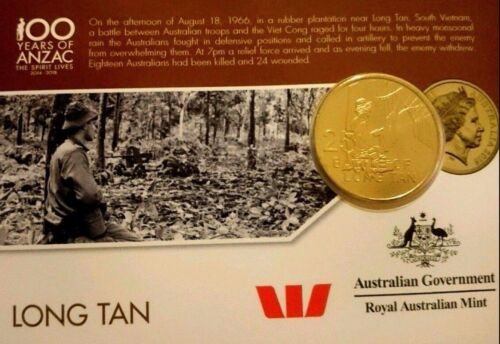 AUSTRALIA 2016 25 CENT ANZAC LONG TAN UNCIRCULATED ON CARD NORDIC GOLD