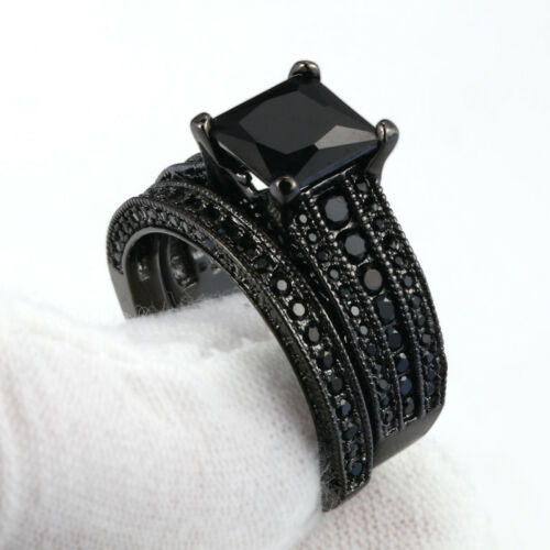 Couple Engagement Rings 18K Black GP/&Titanium steel Wedding Promise Rings Gifts