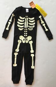 Romper Baby Girls 6-12 M Skeleton Glow-in-The-Dark Halloween Pajama Sleeper
