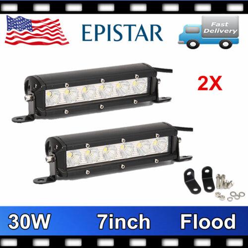2X 7/'/' 30W Single Row LED Work Light Bar Offroad SUV Jeep Truck Flood Beam 6000K