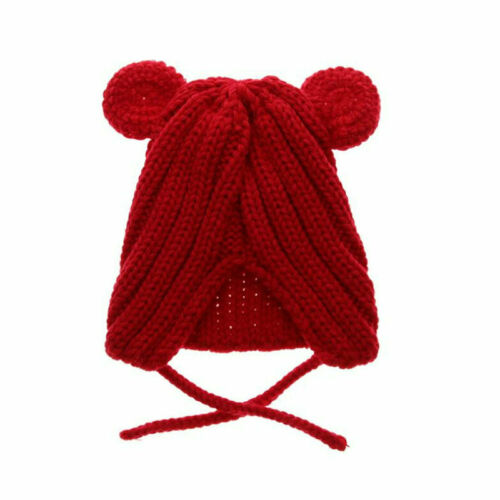 Baby Knitted Hat Dual Ear Beanie Kid Caps Toddler Crochet Bonnet Winter Hat