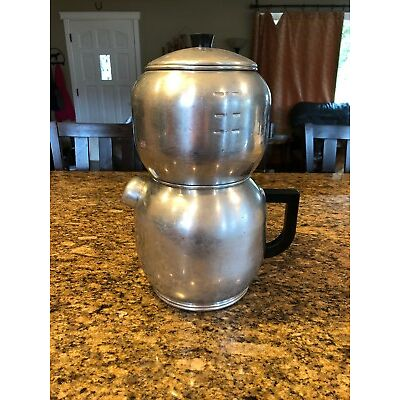Vintage West Bend Aluminum Quick Drip Coffee Maker Pot 18 Cup Stove Top/camping
