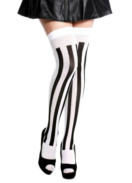 Stockings Ladies Tights over the Knee Carnival Vertical Striped Purple White