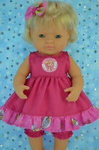 PlaynWear-Dolls-Clothes-For-38cm-Miniland-Doll-HOT-PINK-DRESS-BLOOMERS-BOW