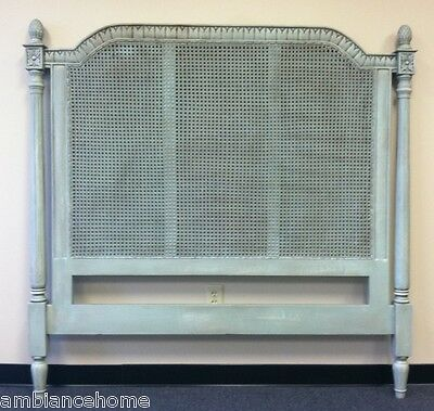 Custom Bay Cane Headboard Queen Size In A Blue Lagoon Finished Bed- In Stock